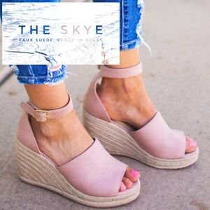 89eafb2fd245 Shoes -  The Skye  Faux Suede Wedge In Blush.